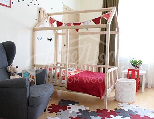 Sweet Home from Wood Cama infantil Montessori con patas con valla (140x70cm)