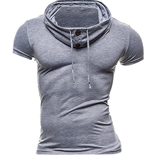SSBZYES Camisetas De Hombre Camisetas De Manga Corta De Hombre Camisetas De Moda De Verano para Camisetas De Manga Corta De Color Sólido con Cuello De Pelo Cárdigan Vertical Camisa De Fondo