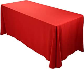 E-TEX 90x156-Inch Polyester Oblong Tablecloth Fit for Rectangular Table Red
