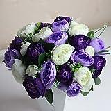 SLJHUA Fleur Artificiel Artificiel Faux Bouquet Fleurs Artificielles Bouquet Bricolage Jardin De Mariage Fête Bouquets De Fleurs Polyester 5 91 (Environ 15Cm)