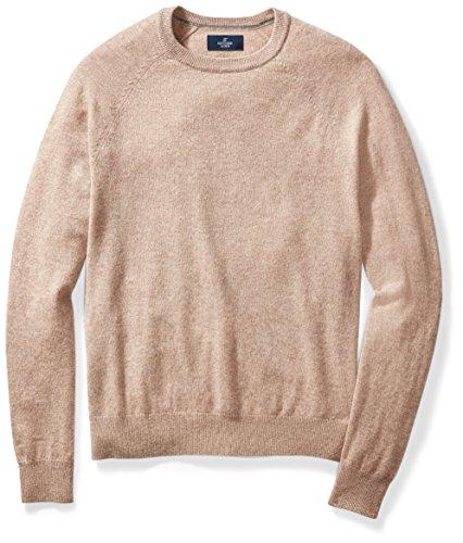 BUTTONED DOWN Men's Cashmere Crewneck Sweater, Toast, Large