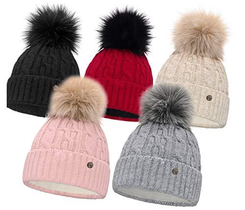 HEYO Damen Wintermütze mit Fleece Innenband H18527 | Slouch Beanie Winter Mütze | Warme Strickmütze mit Bommel | Bommelmütze (Schwarz)