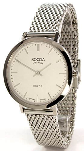 Boccia Damen Analog Quarz Uhr mit Edelstahl Armband 3246-06