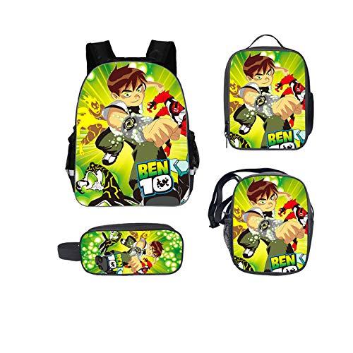 GoBen Kids Teens Ben 10 School Backpack-Travel Backpack+Message Bag+Lunch Bag+Pencil Case for Boys Girls