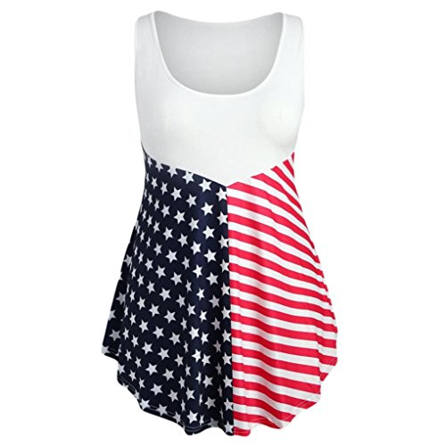 Clearance Independence Day Apparel! Auwer Fashion Sleeveless Vest Women's Patriotic Lace Asymmetric American Flag Print Tank Tops (L, Red)