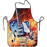 Tienda Katrine Guitarra acústica Delantales de chef de fuego Delantal de parrilla liviana diseñado para adolescentes Perforación