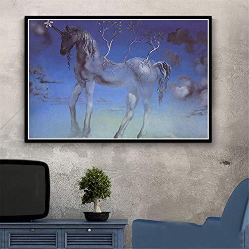 Flduod Plakat und Drucke Psychedelische Malerei Retro Salvador Dalí Surrealismus Wandkunst Abstrakte Bilder für Wohnzimmer Home Decoration-No Frame 30x40cm