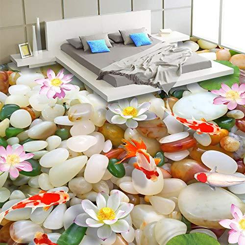 JFZJFZ Mural de suelo 3D personalizado HD Pebble Lotus Carp Azulejos de piso Dormitorio pintado Sala de estar PVC Impermeable Resistente al desgaste Etiqueta de papel tapiz-100X70CM