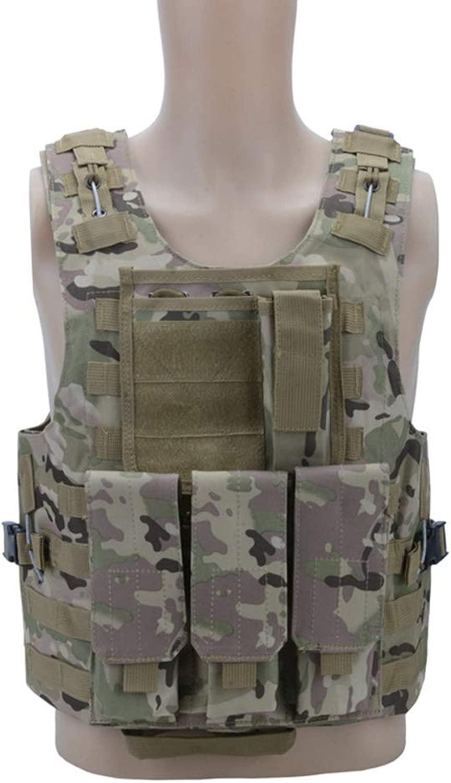 ZDQG Mens Military Weste Tactical Army Polyester Weste für Outdoor Assault Camping Jagd Angeln Wandern Airsoft Kriegsspiel,F