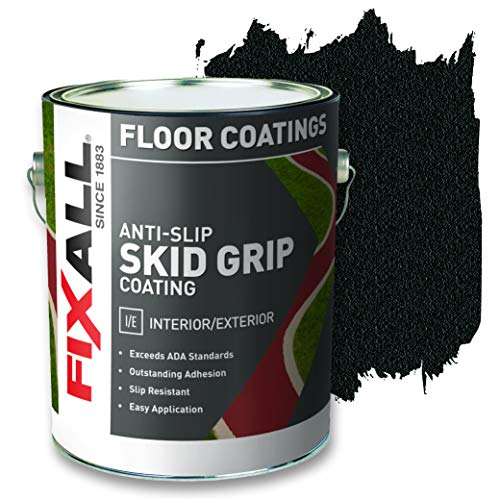 FIXALL Skid Grip Anti-Slip Paint, 100% Acrylic Skid-Resistant Textured Coating (Color Jet F06505-1) 1 Gallon