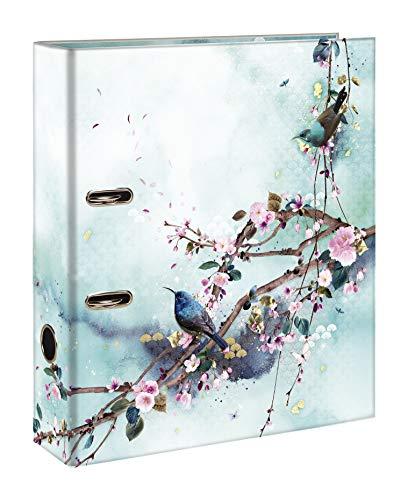 Clairefontaine 115464C - Un Classeur à Levier en Carton motifs Floral/Oiseaux - Dos 70mm - A4 maxi - Finition brillante - Collection Sakura dream - 1 visuel foncé, 1 visuel clair, livraison aléatoire