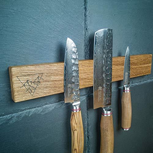 hannes.design Magnet Messerhalter Holz lokal handgemacht, konkurrenzlos Starke Magnete, Kleben/Schrauben - unbestückte Messer-Leiste Magnetleiste Küche ohne Bohren Wand-Halter (mit Logo, Walnuss)