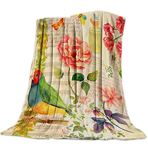 Sweet Comfort Dream Bird Floral Vintage Flannel Fleece Blankets Luxury Couch Cover Blanket Staves Letters Soft Lightweight Plush Throw Blankets for Couch/Chair/Bedroom All Season, 50x60 inches