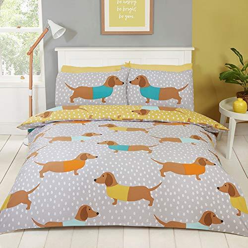 CnA Stores – Dachshund Sausage Dog Single Duvet Cover Set Reversible Ochre Grey Bedding (Single Duvet Set With Pillowcase)