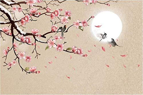 Papel Pintado 3D Nuevo estilo chino simple pintado a mano flores y pájaros flor de durazno Fotomurales Pared Dormitorio Papel Pintado Fotográfico Mural Decoración