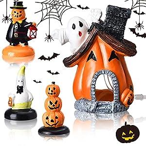 blulu 4 pieces halloween pumpkin figurine decorations resin stone halloween figurines set halloween pumpkin and ghost statue for resin crafts desktop fish tank ornament halloween decor