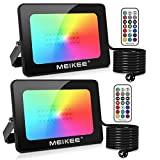 MEIKEE Foco Led RGB 15W, Luz RGB Led de 16 Colores Iluminación, Lámpara RGB con 4 Modos Ajustable Exterior Impermeable para Jardín, Camino y Decoraciones Festivas - 2 PACK