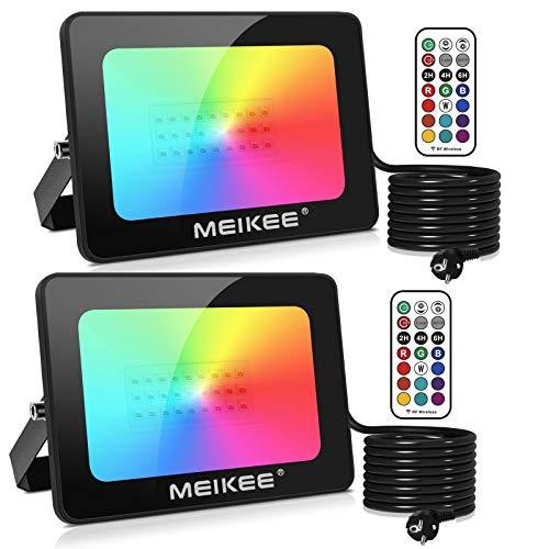 Mehrfarbiger RGB-LED-Projektor mit Fernbedienung 25 W 2er-Set MEIKEE-Dekorlampe, IP66-LED-Außenfarbe, fantastisches Beleuchtungsset für Halloween, Weihnachten, Hochzeit, Geburtstag und Neujahr