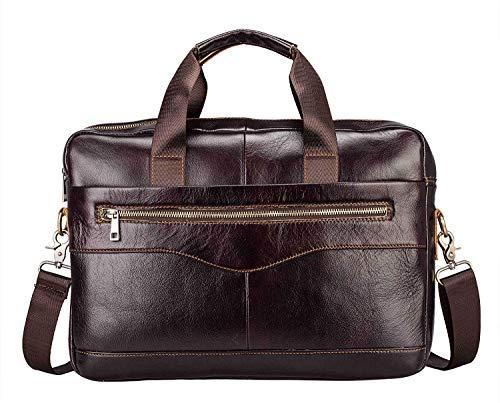 Businesstasche Herren Leder Aktentasche Männer Handtasche Vintage Laptoptasche Arbeitstasche Umhängetasche Schultertasche für 14 Zoll Notebook - Braun