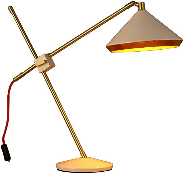 Amerikanische Retro Tischlampe, Studie Schlafzimmer Bedside Eisen verstellbarer Netzschalter Knopf Augenlampe Hoch 56cm Energie sparen (Farbe   Weiß) B07JVKJGP8       Genial