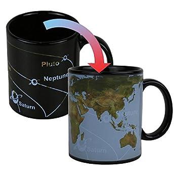 Heat Changing Sensitive Funny Mug for Morning Coffee Tea Milk Map Ceramic Mugs Magic Color Changing Mug Cute Birthday Father s Day Idea for Mom Dad Women & Men