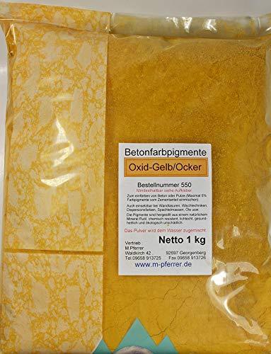 Pigment Ocker/Gelb 1kg Trockenfarbe, Eisenoxid für Beton, Putze, Gips - Farbpigmente