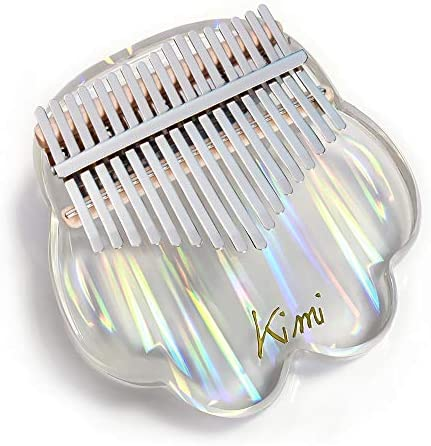 REAWOW Crystal Kalimba Transparent Bear Thumb Piano 17 Notes Acrylic Plate Finger Piano Musical Instrument Gifts for Kids Adult Beginners with Stand Holder And Protective Box