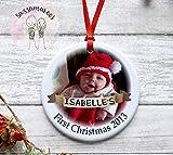 Leoner22art Personalisierbare Weihnachtskugel, Babys, erste Weihnachten, zum Aufhängen, mit Foto