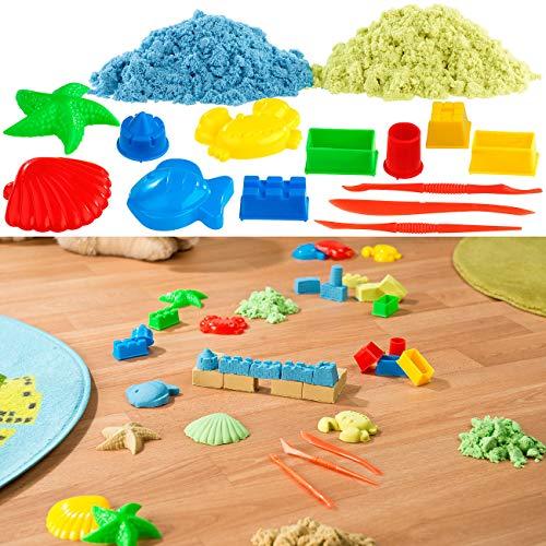 Playtastic Zaubersand: 2er-Set kinetischer Sand, je 300 g, bunt, mit Sand-Formen und Werkzeug (Sandknete)
