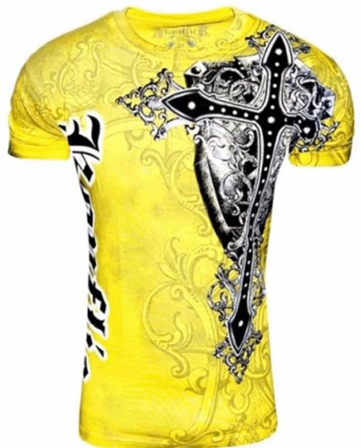 Konflic Men's NWT Giant Cross Graphic Designer MMA Muscle T-Shirt L Yellow