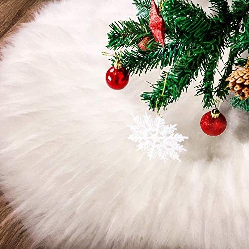 Beslop 48 inch Faux Fur Christmas Tree Skirt Snowy White Tree Skirt for Christmas