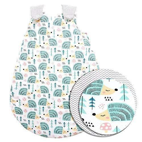 ZICK-ZACK Kollektion Baby-Joy - Babyschlafsack 100% Baumwolle WARM gefüttert Außensack Schlafsack (56/62, 04 Igel)