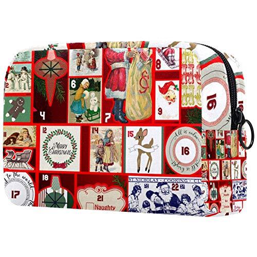 Bolsa de maquillaje con calendario de Adviento para mujer, bolsa de aseo para cuidado de la piel, práctica bolsa con cremallera