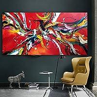 大きいサイズのポスターアートは、居間の寝室の壁の絵のキャンバスの絵画のための赤い抽象的な油絵のキャンバスを印刷します30x60cmx1PS noframe