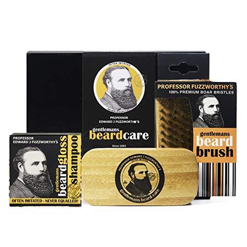 Professor Fuzzworthy Men's Essential Beard Care Grooming Kit - Beard Shampoo & Boar Bristle Beard Brush - Best Travel Gift Set | 100% Natural & Zero Waste | Organic Ingredients Sulfate & Paraban Free