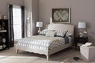 Baxton Studio Fannie French Classic Platform Bed in Beige (Full: 93.59 in. L x 56.36 in. W x 47 in. H)