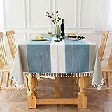 Mantel de Lino y algodón Tejido Liso Costura de Rayas Rectangular Borla Costura Mantel Lavable a Prueba de Polvo 140x220cm Estilo A