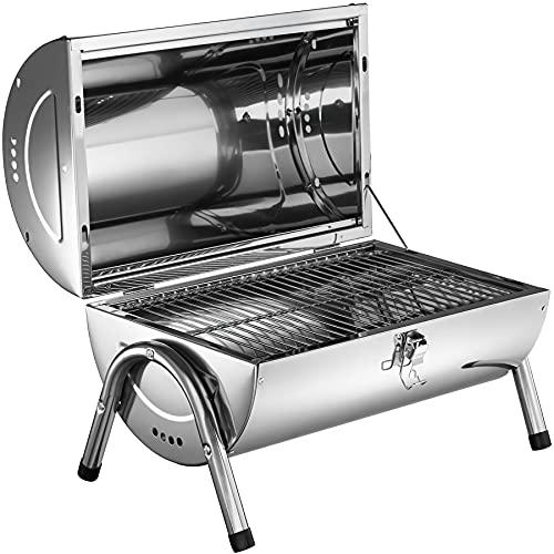 51oZrrR7R0S. SL500  - TecTake Edelstahl BBQ Grill mit großer Doppelgrillfläche Holzkohlegrill Grilltonne Silber
