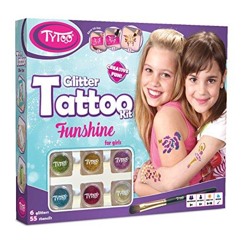 Tytoo Kit de Tatuaje de Purpurina para Chicas con 55 Plantillas, Uso Seguro, duración de 8-18 días