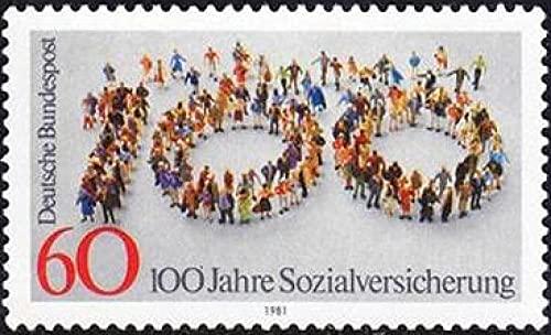 FGNDGEQN Colección de Sellos Sello alemán 1981 Sistema de Seguridad Social 100 Aniversario Modelo Digital 1 Nuevo MNH