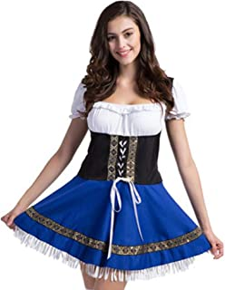 Women German Bavarian Costume Oktoberfest Beer Girl Dress Carnival Halloween,Blue/White