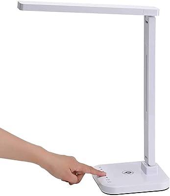 Lampe De Bureau À LED avec Chargeur sans Fil, Lampes De Table pour Les Yeux avec Port De Chargement USB, 4 Modes 5 Niveaux De Luminosité, Contrôle Sensible, Lampe De Table À Minuterie 60 Min,Blanc