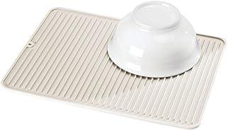 mDesign Tapete escurridor antideslizante – Alfombrilla antideslizante grande de silicona para ollas y vajilla – Bandeja secaplatos apta para lavavajillas para la cocina – crema
