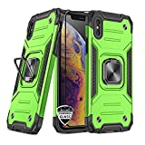 REEJAX iPhone Xs Max Case with Screen Protector,Heavy Duty Rugged Cover with Magnetic Ring Kickstand for Car Mount Holder,Protective Phone Case for Apple iPhone Xs Max Green
