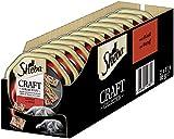 Sheba Katzenfutter Nassfutter Craft Collection Pastete mit feinen Stückchen mit Rind, 22 Schalen (22 x 85g), 1870 g