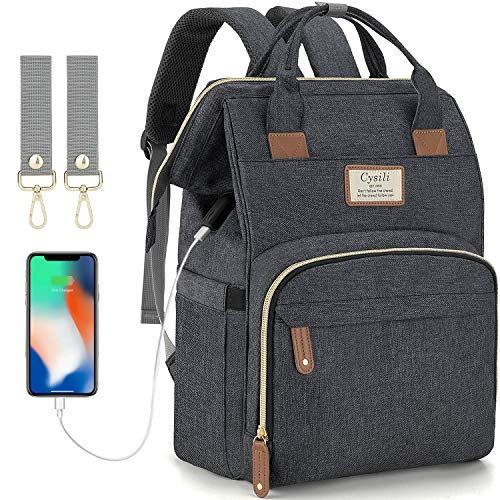 Diaper Bag Backpack with USB Charging Port and Stroller Straps, Maternity Nappy Bag with Insulated Feeding Bottle Pocket (B-Dark Grey)