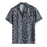 Camisa con estampado de leopardo para hombre, blusa de manga corta con bolsillo suelto, blusa de verano con cuello redondo para hombre, Negro, L
