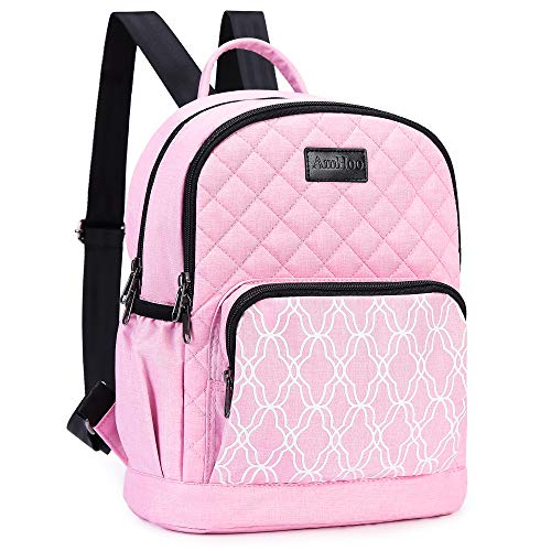 AmHoo Insulated Lunch Bag Leak-proof Reusable Cooler Backpack Best Double YKK Zippers Waterproof Multiple Pockets Quilted,Pink
