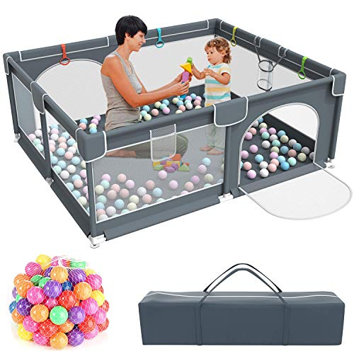 Baby PlaypenKids Large Playard with 50PCS Pit BallsIndoor amp Outdoor Kids Activity CenterInfant Safety Gates with Breathable MeshSturdy Play Yard for ToddlerChildren#039s Fences Packable amp Portable