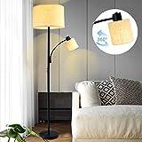 Depuley Led Stehlampe Modern E27, 2 Flammig(9W+5W) Stehleuchte schwarz mit 2 Kippschlter & Stoffschirm, 3000K Warnweiß für Sofa, Ecke, Lesen, Schlafzimmer